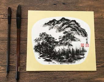 Original Chinese Ink and Wash Painting - Zen Water Town and Mountain Lanscape, 24x27cm, Chinese Painting, Wall Art, Home Decor, Great Gift!