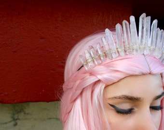 The Anna Mermaid Crown - [Tall Clear Quartz Crystal Crown / Tiara] Crystal Headpiece, Quartz Crown, Crystal Tiara