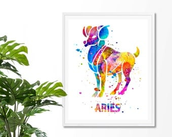 Aries #3 Watercolor Astrology Art, Aries Print, Aries Sign ,Aries Zodiac, Aries Wall Art, Aries Poster, Gifts for Aries , Archival Art Print