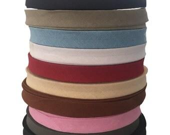 14mm Bias Binding Cotton Tape (5m/10m/25m) (VARIOUS Colors). Webbing, Aprons, Decoration, Craft, Bunting, Sewing, Trim Edge, Dress Material.