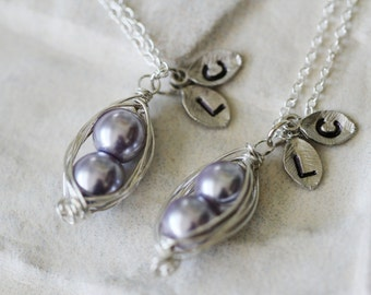 Lavendar Pea Pod Necklace Set / Two Peas in a Pod / Best Friend / Custom Initials / Hand Stamped / Gift for Her / Mother / BFF / Daughter