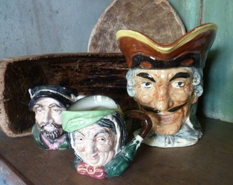 royal doulton / set of three / vintage toby jugs / collection of toby jugs / collection of character jugs
