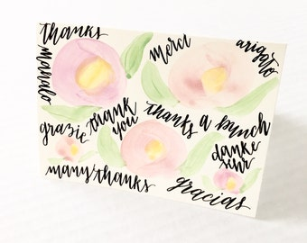 Floral Watercolor Thank You Card - Hand Lettered Calligraphy