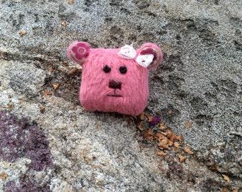 Teddy bear brooch - pink