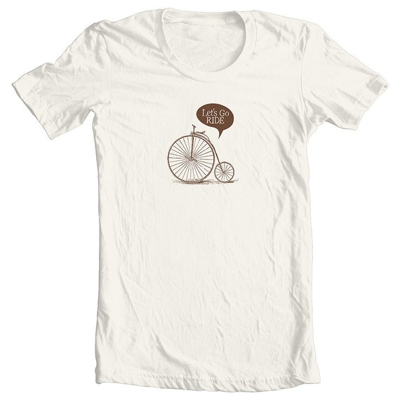 Velo t shirt vintage bike brown on natural screen print for Vintage screen print t shirts