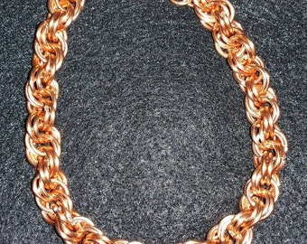 Copper Spiral Weave Chainmaille Bracelet or Anklet