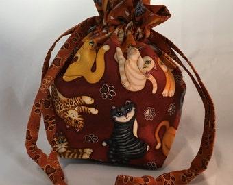 Small Drawstring Project Bag - Cats