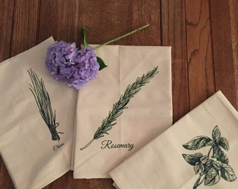 Set of 3 Dish Towels Screen Printed with Herbs
