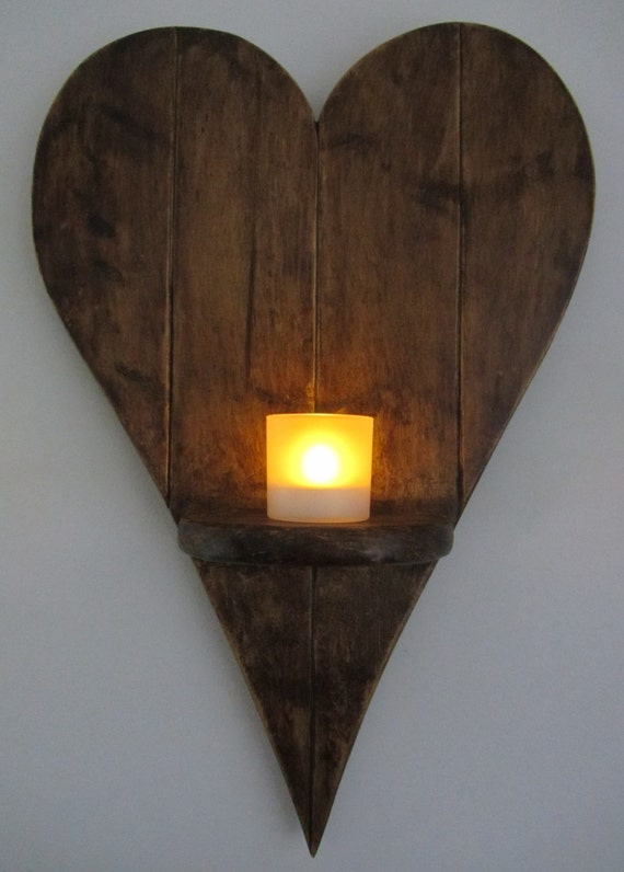 55 cm Heart shaped wall sconce Led candle holder Reclaimed