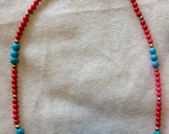 Dyed coral and  reconstituted turquoise necklace, 20 inches long.