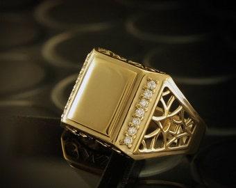 Diamonds signet ring, Men diamonds ring, Men gold signet ring, Men ring with diamonds, Gold ring for him, Men big ring, Ring for men