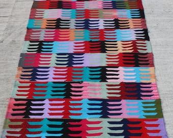 "Turkish Rug Runner,8.8""x2.11""Feet,263x88 cm,Anatolian Decorative Rug,Fingered Pattern Turkish Vintage Rug,Kilim Rug"