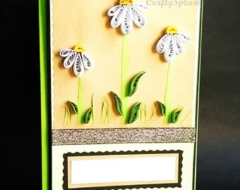 Daisy Flower Greeting Card, Quilled paper flower card, Blank card with flower