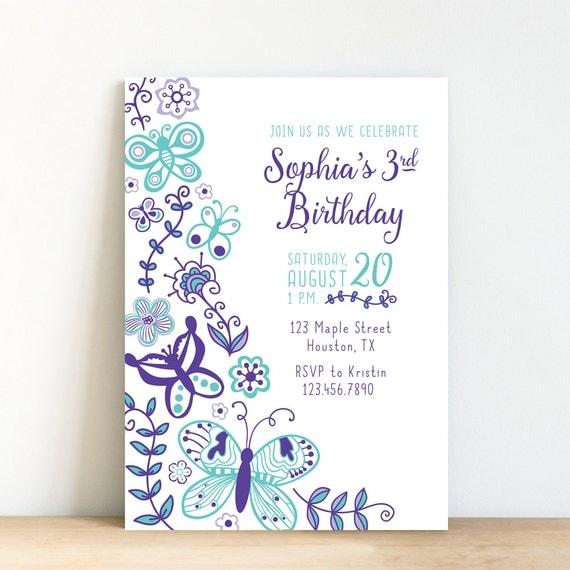 Butterfly Invitation Birthday Invite Girl