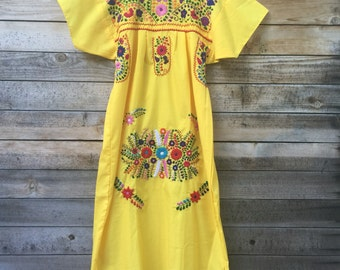 Womens mexican dress - mexican dress handmade - embroidered - mexico - dress - boho dress - adult - yellow