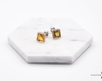 Citrine Square | Citrine Earrings | Citrine Stud Earrings | Orange Stud Earrings | Orange Stone Earrings | Sterling Silver Earrings