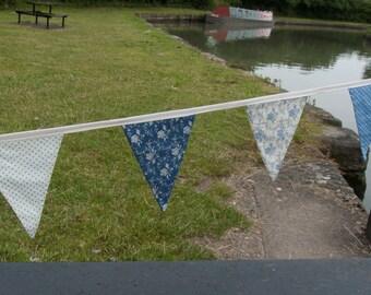 Vintage Style Cornflower Blue Fabric Bunting