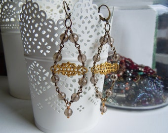 Dangling earrings smoky Quartz and prints in brass