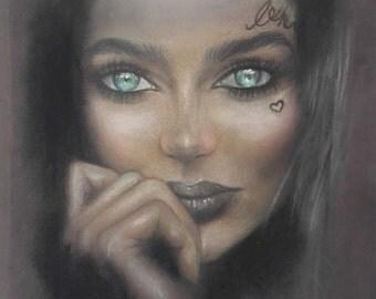 A4 Original Coloured Pencil Pastel Portrait Drawing