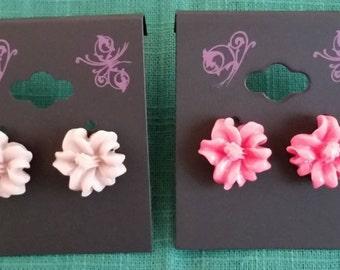 Nickel Free Hibiscus Flower Earrings