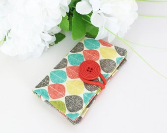 Fabric Card Holder - For Business Cards, Credit Cards, Opal Card - Autumn Leaves