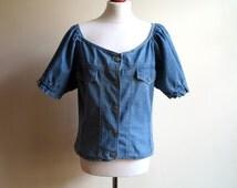 Womens Blue Denim Blouse Short Sleeveless Summer Shirt Puffy Sleeves Jeans Blouse Peasant Blouse Denim Dirndl Blouse Large to X Large Size