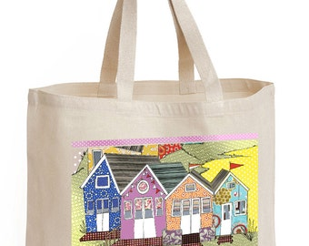 Shopping bag, Beach huts design, Shopper, Tote, Coastal Beach Huts.  Perfect shopping bag celebrating beach life in the coastal style.