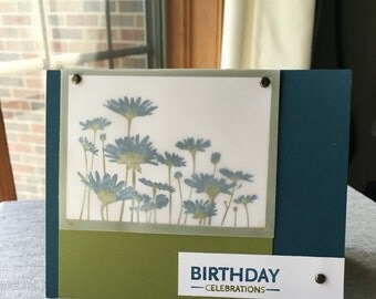 Birthday celebrations card, Birthday card, Floral card, Handstamped greeting card