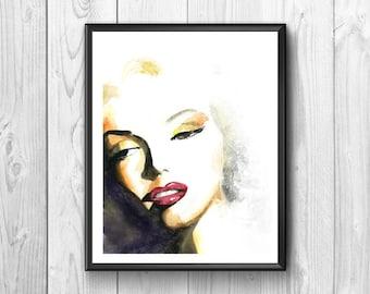 Marilyn Monroe, Marilyn Monroe posters Marilyn Monroe watercolor, wall poster, American actress