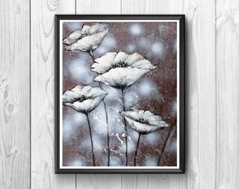 Unreal white poppies, painted in watercolor