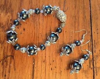 Gray Glass Pearl Set