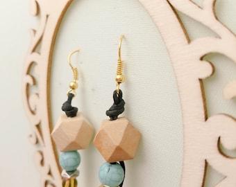 Beads and Cords Earrings - minimalist geometric dangle earrings