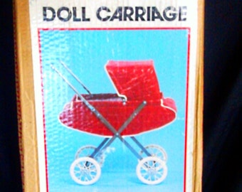 """1950s """"WELSH CO"""" Doll Carriage / Stroller  NEW *mint in box""""  . # 740 - Red"""