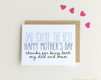 Mother's Day Card for Dad |Happy Mother's Day Dad Card | Single Dad Card {SKU: FC145}