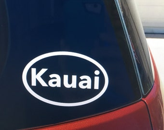 Kauai vinyl car window sticker, Kauai, HI decal