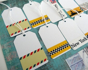 Embellished Tags with masking tape / set of 14 / labels decorated with masking tape Pack of 14 / New York theme