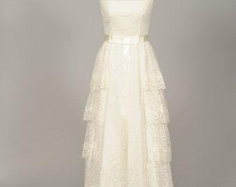 1950 Asymmetrical Lace Vintage Wedding Gown