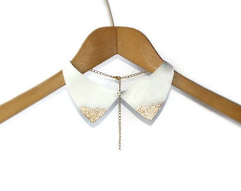 White bib necklace, Leather bib necklace, collar necklace, Choker, Leather Collar