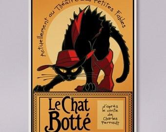 Print Puss in boots 1910 noir, le chat noir, vintage Puss in Boots poster, vintage cat ads, Paris black cat, Paris vintage cat prints