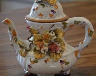 charming old earthenware teapot BASSANO