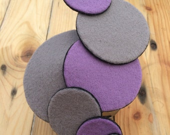 SILLY BILLY. Grey and purple hair piece/fascinator/mini hat