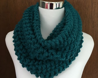 Bulky Teal Blue Knitted Infinity Cowl Scarf