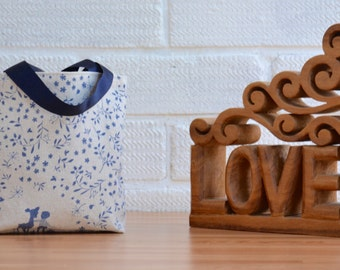 Mini Bag in Navy Blue and Cream Fabric, Small Bag, Perfect as a gift bag.