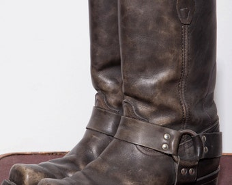 vintage black motorcycle boots 9.5 men mens leather moto boots with side buckles, worn in leather boots