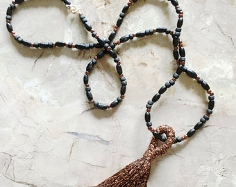 Copper tassel real stone and beaded necklace