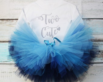Two Cute Second Birthday Baby Girls Outfit Set Blue Tutu Silver Glitter Print White Long Sleeved Tee