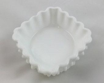 Fenton White Hobnail Bowl, 1950s Vintage