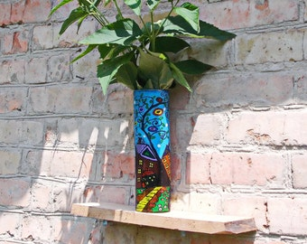 Glass Vase, Hand painted, painting with acrylic paints, Blue Vase, Home Decor, Gift, Painted Vase, Gift, Home décor