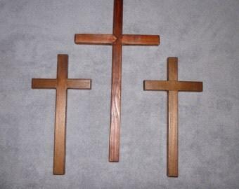 Set of Three Wooden Crosses (Calvary Crosses)