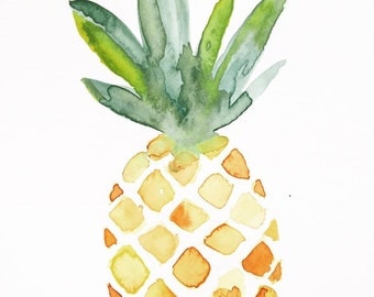 Original Watercolor Pineapple